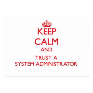 Guarde la calma y confíe en a un administrador de  tarjeta de negocio