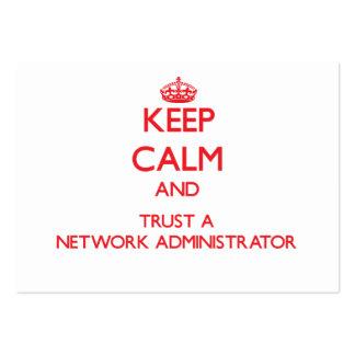 Guarde la calma y confíe en a un administrador de  plantillas de tarjetas de visita