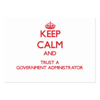 Guarde la calma y confíe en a un administrador del tarjetas de visita grandes