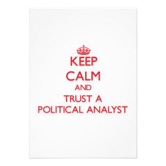 Guarde la calma y confíe en a un analista político anuncio personalizado