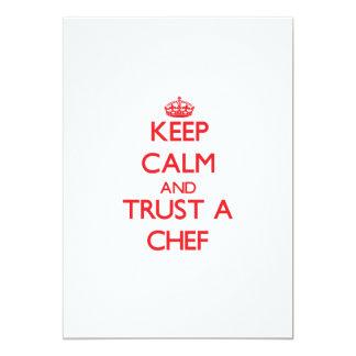 Guarde la calma y confíe en a un cocinero comunicado personal