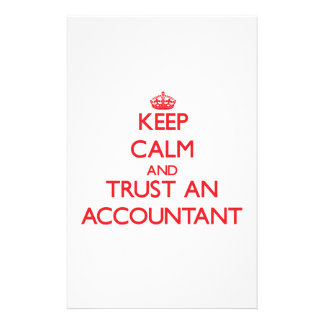 Guarde la calma y confíe en a un contable papelería personalizada