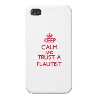 Guarde la calma y confíe en a un flautista iPhone 4/4S fundas