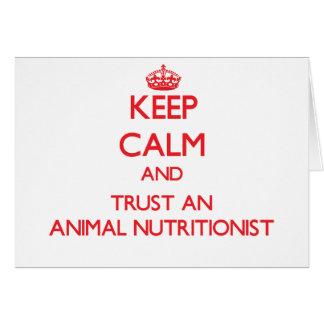 Guarde la calma y confíe en a un nutricionista ani tarjeta de felicitación