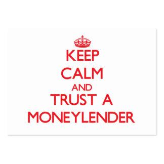 Guarde la calma y confíe en a un prestamista tarjetas de negocios