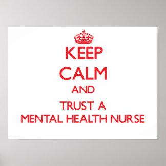 Guarde la calma y confíe en a una enfermera de póster