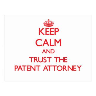 Guarde la calma y confíe en al abogado de patentes postal