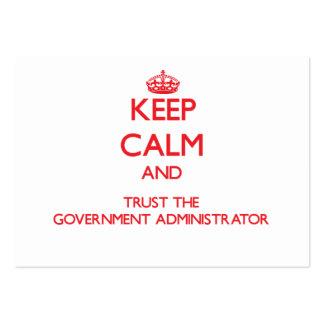 Guarde la calma y confíe en al administrador del g tarjetas de visita grandes