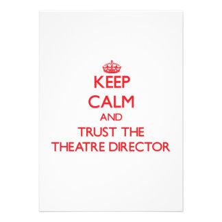 Guarde la calma y confíe en al director del teatro invitacion personal