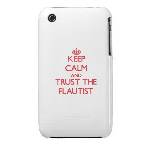 Guarde la calma y confíe en al flautista iPhone 3 Case-Mate cárcasa