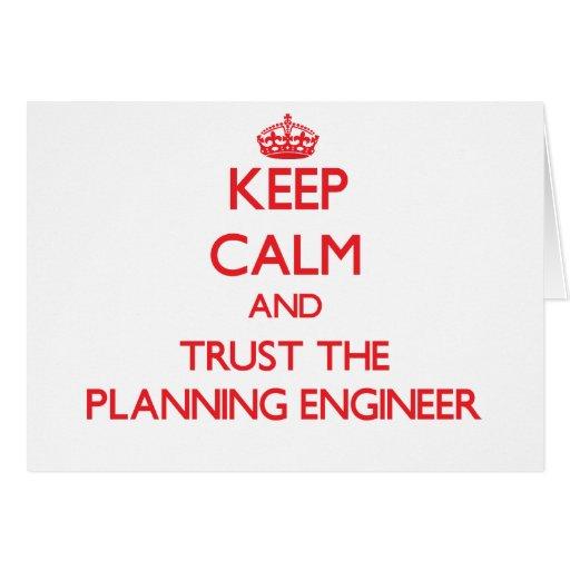 Guarde la calma y confíe en al ingeniero de planea felicitacion