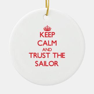 Guarde la calma y confíe en al marinero ornaments para arbol de navidad