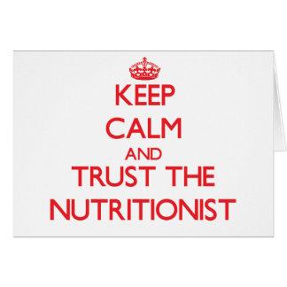 Guarde la calma y confíe en al nutricionista tarjeta