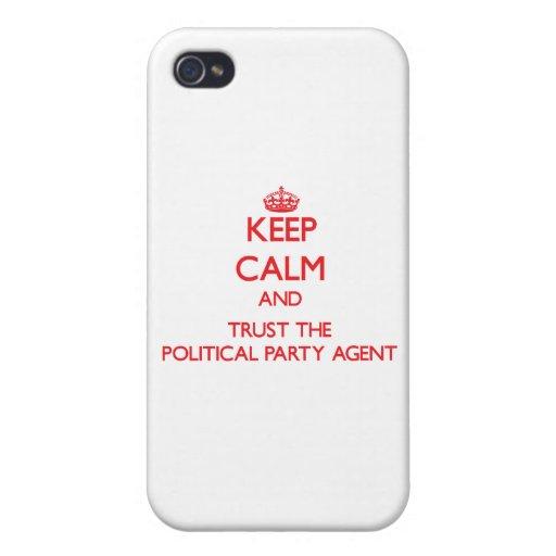 Guarde la calma y confíe en el agente del fiesta p iPhone 4 carcasa