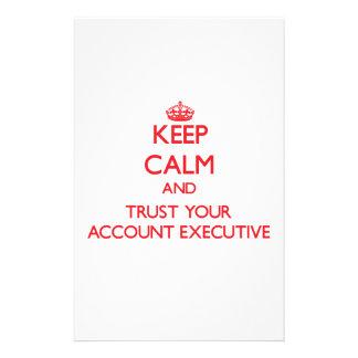 Guarde la calma y confíe en su ejecutivo de cuenta  papeleria de diseño