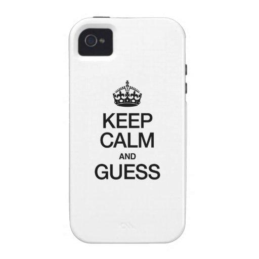 GUARDE LA CALMA Y CONJETURE iPhone 4/4S CARCASAS