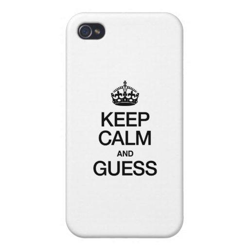 GUARDE LA CALMA Y CONJETURE iPhone 4 FUNDAS