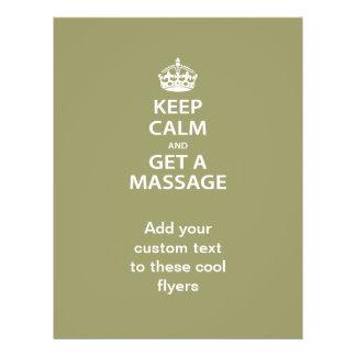 Guarde la calma y consiga un masaje tarjetas publicitarias