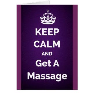 Guarde la calma y consiga una púrpura del masaje tarjeta de felicitación