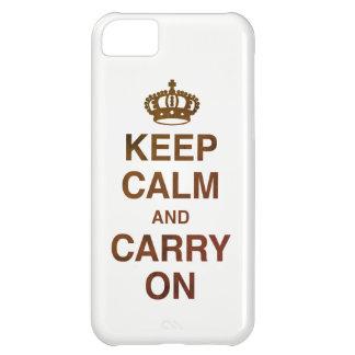 GUARDE la CALMA Y CONTINÚE/Brown Funda Para iPhone 5C
