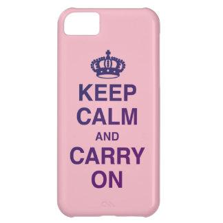 GUARDE la CALMA Y CONTINÚE el rosa Funda Para iPhone 5C