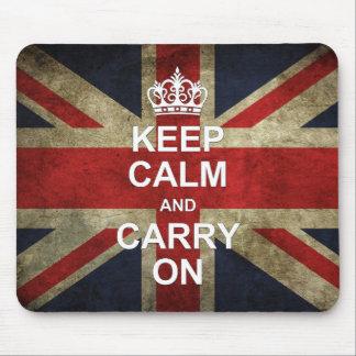 Guarde la calma y continúe - la bandera de Británi Alfombrilla De Ratón
