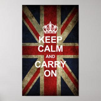 Guarde la calma y continúe - la bandera de Británi Póster
