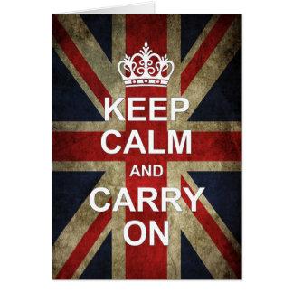 Guarde la calma y continúe - la bandera de tarjeta de felicitación