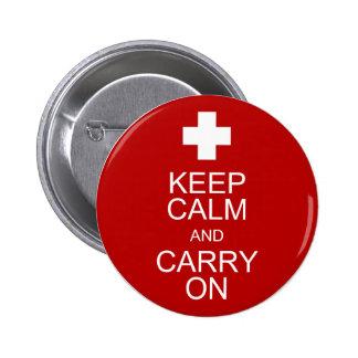 Guarde la calma y continúe - los primeros auxilios chapa redonda de 5 cm