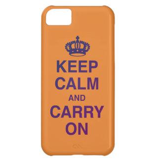 GUARDE la CALMA Y CONTINÚE (naranja/la púrpura) Carcasa iPhone 5C