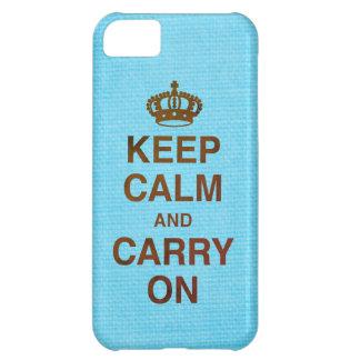 GUARDE la CALMA Y CONTINÚE/textura azul Carcasa Para iPhone 5C