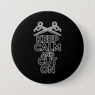 Guarde la calma y corte encendido chapa redonda de 7 cm