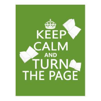 Guarde la calma y dé vuelta a la página postal