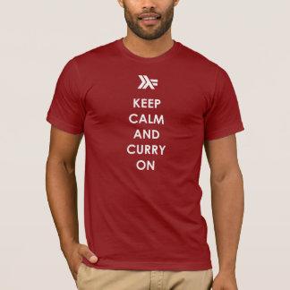 Guarde la calma y el curry encendido camiseta