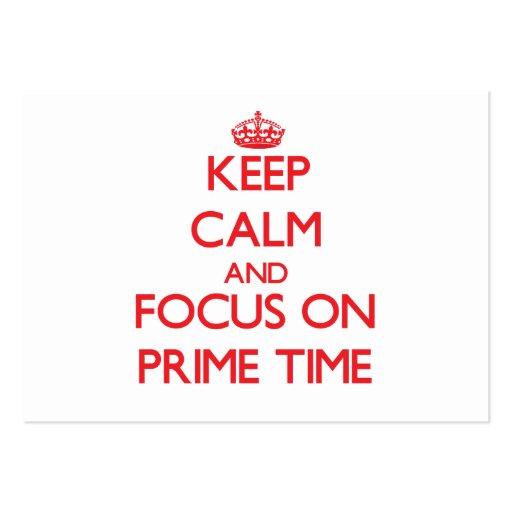 Guarde la calma y el foco el hora de máxima audien tarjetas de visita