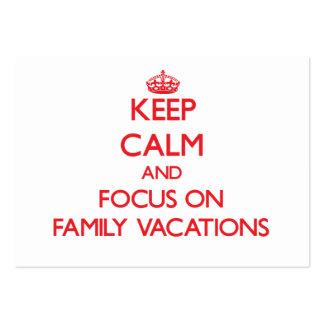 Guarde la calma y el foco el vacaciones de familia tarjeta de visita