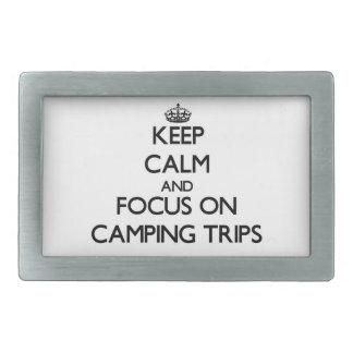 Guarde la calma y el foco en acampadas hebilla cinturón rectangular