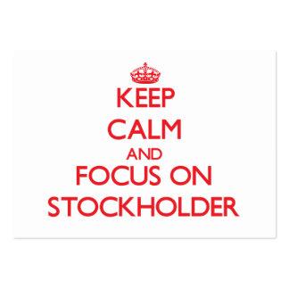 Guarde la calma y el foco en accionista tarjetas de visita grandes
