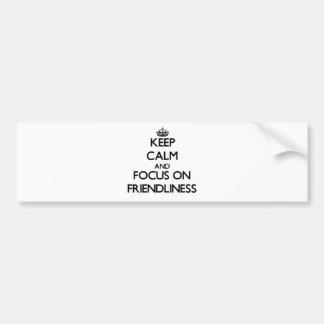 Guarde la calma y el foco en amistad etiqueta de parachoque