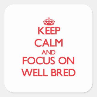 Guarde la calma y el foco en bien educado colcomanias cuadradas personalizadas