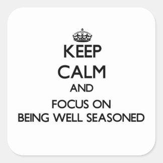 Guarde la calma y el foco en bien el aderezo calcomanía cuadradas