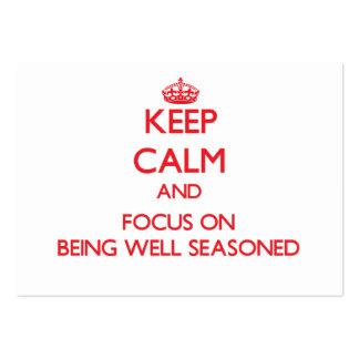 Guarde la calma y el foco en bien el aderezo