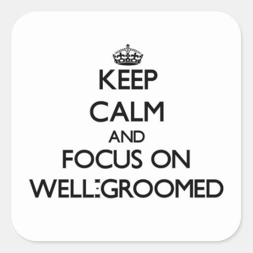 Guarde la calma y el foco en Bien-Preparar Calcomania Cuadrada Personalizada