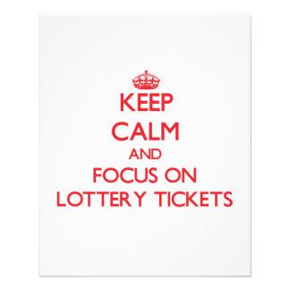 Guarde la calma y el foco en boletos de lotería tarjetas informativas