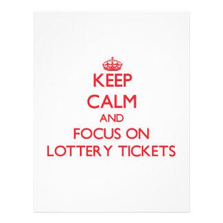 Guarde la calma y el foco en boletos de lotería tarjetones