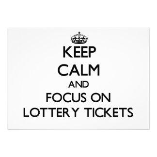 Guarde la calma y el foco en boletos de lotería comunicados personales