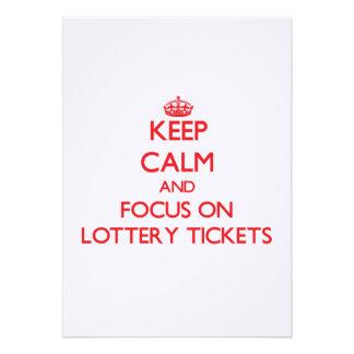 Guarde la calma y el foco en boletos de lotería anuncios