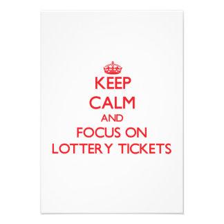 Guarde la calma y el foco en boletos de lotería invitaciones personales