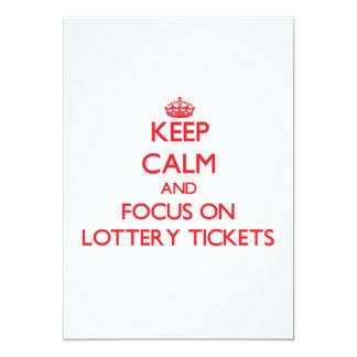 Guarde la calma y el foco en boletos de lotería invitación 12,7 x 17,8 cm