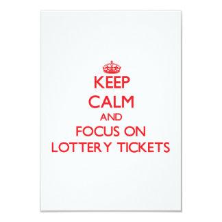 Guarde la calma y el foco en boletos de lotería invitación 8,9 x 12,7 cm